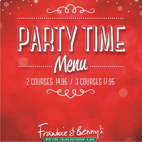 Frankie & Benny's Party Time menu
